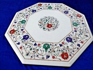 24 Inches White Sofa Table Top Hand Inlaid with Gemstones Coffee Table for Home