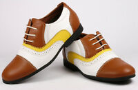 Brown Yellow White Infant Toddler Boy's Kids Lace Up Cap Toe Oxford Dress Shoes