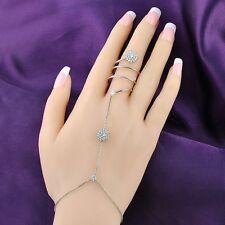 Charm Hand Chain Bracelet&Finger Ring Zircon/Crystal/Pearl Womens Gift R964