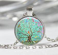Vintage New Tree Cabochon Tibetan silver Glass Chain Pendant Necklace 68#