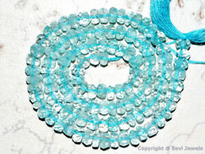 """Aquamarine 2.5-3mm/3.5-4mm/4-4.5mm Micro FACETED Rondelle 7""""str (Select-A-Size)"""