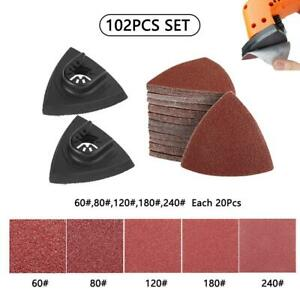 102Pcs Sanding Paper+80mm Triangular Sanding Pad Oscillating Multi-tool