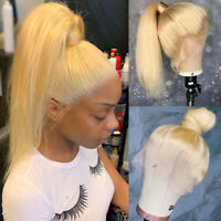Blonde 360 Lace Front Wig Malaysian Remy Human Hair Full Wigs For Bun Ponytail P