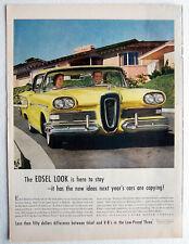 Edsel Auto Ad Yellow 2 door Hard Top 1959