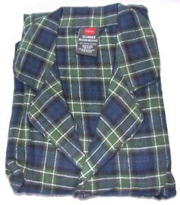 New Hanes Classics Men's 2 Piece Cotton Flannel Pajama Set - Green/Blue Plaid