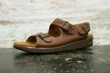 Womens SAS Relaxed Amber Leather Sandals SZ 11 M Used 2 Buckle Brown Read