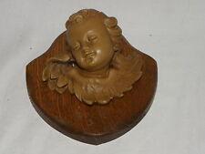 Bellissima vecchia putte su piastra di legno-ANGELI-ANGELO TESTA