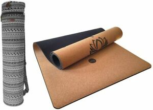 Tapis de yoga 4 mm en liège naturel et TPE antidérapant + sac  Étirement Fitness