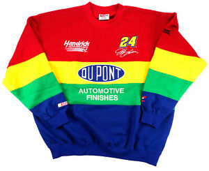 NASCAR Jeff Gordon Vintage Sweathirt XL DuPont Racing Chase 24 Colorblock NWT