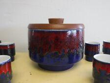 11pc Dumler Breiden German Mid Century Pottery Punch Set Drip Glaze Fat Lava Era