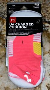 UNDER ARMOUR Charged Cushion Pink White No Show Tab Run Socks NEW Mens M 4 - 8.5