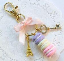 Pastel Macaron Trio Eiffel Tower Gold Tone Purse or Bag Charm, Keychain, Cute!
