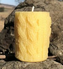 100% Pure Australian Beeswax, Pillar Candle, Colour - Natural, Knitted, 7cm