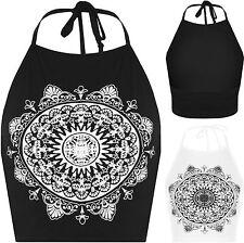Ärmellose Damen-T-Shirts mit Rundhals-Ausschnitt und geometrischem Muster