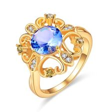 Tanzanite Women Jewelry Valentines Gift Silver Plated With 14K Gold Ring set