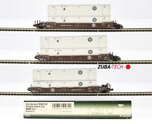 Kato 106-6111 Doppelstockcontainerwagen-Set 3tlg. BNSF, Spur N GS mit OVP / I707