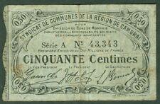 NECESSITE 50 CENTIMES SYNDICAT DE COMMUNES REGION DE CAMBRAI ETAT: TB  lot 992