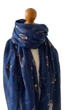 NAVY BLUE  CACTUS PRINT  METALLIC  FOIL  PRINT SCARF WRAP GREAT GIFT IDEA