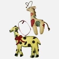 Giraffes Christmas Holiday Ornaments Vintage Lot of 2
