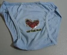 "Nos Vtg Chambray Blue Bikini Underwear ""On the Run"" Iron On Briefs S Oldstock"