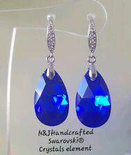 Crystal Drop Earrings 925 Silver Genuine Swarovski element  22mm Majestic Blue