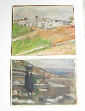 2 Salomon BERNSTEIN Oil Painting Judaica ISRAEL Jerusalem LANDSCAPE 1886-1968
