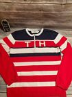 Vintage Tommy Hilfiger Red White Blue Stripe TH Sweater 1/4 Zip Women's Large