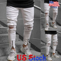 Men's White Zipper Ripped Destroyed Jeans Straight Slim Fit Denim Pants Skinny