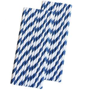 50 Navy Blue  Stripe Paper Straws