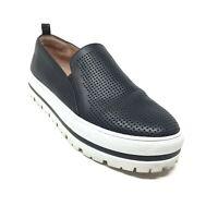 Women's Halogen Platform Loafers Shoes Size 7.5 Black Leather Casual Slip On F2