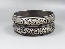 Pair of  Rustling Antique Chinese Sterling Silver Bracelet Bangle-Flower,Yingyan