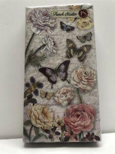 Punch Studio Guest Towels 53648 Butterfly Dance (16 Towel Napkins/Set)