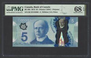 Canada 5 Dollars 2013 BC-69c Uncirculated Grade 68 Top Pop