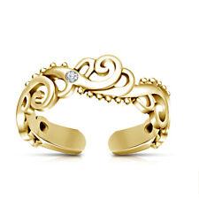 Over White Diamond Fashion Beach Jewelry Adjustable Wave Midi Toe Ring 14K Gold