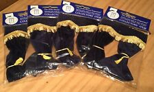 4 Pairs Dolls House Scale Navy Blue Velvet Curtains New