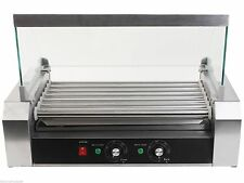 Commercial 18 Hot Dog Hotdog 7 Roller Grill Cooker Grilling Machine W/ cover New