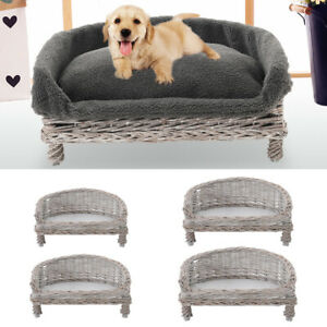 Woven Wicker Pet Bed Sofa Armchair Puppy Dog Kitten Cat Sleeping Station Cushion