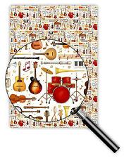*QUIRE*Exclusives*Geschenkpapier 50 x 70cm *Musik&Instrumente*