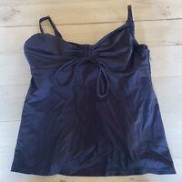 LANDS' END Women's Navy Blue Tankini Swimsuit Top Sz 10