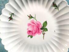 Excellent Vintage MEISSEN Pink Rose Cake Round Serving Platter Plate Ruffled Rim