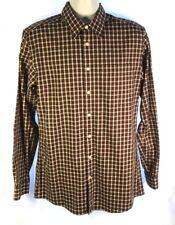 Eddie Bauer Mens TM Tall Brown Plaid Cotton  Button Down Shirt Classic Fit     H
