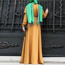 Muslim Women Kaftan Islamic Long Sleeve Arab Jilbab Abaya Maxi Dress RObe Purple