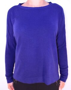 New Womens Marks and Spencer Blue Navy Boxy Jumper Size 14 Buttons Winter AN