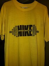 1980's Vintage Nike Paper thin Weight Lifting Rare Yellow T-shirt Size Xl Grey