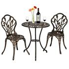 3pcs Patio Bistro Set Furniture Outdoor Garden Table Chair Bronze Sturdy Us