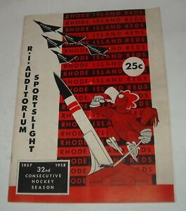 1957 - 1958 RHODE ISLAND REDS HOCKEY SOUVENIR PROGRAM MAGAZINE RI AUDITORIUM