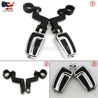 """1-1/4"""" Highway Foot Pegs Peg Rest Mount Clamps Universal For Harley-Davidson US"""