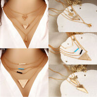 Stylish Women Multilayer Charms Necklace Boho Long Sweater Chain Pendant Jewelry