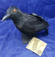 NEW Halloween Crow Prop Raven Black Realistic Feathered Party Home Top