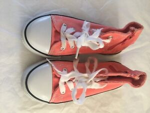 Peach size 13 hi top sneakers girls from Matalan side zip lace up girls trainers